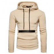 image of EDGING ZIPPER FLEECE PULLOVER HOODIE (BEIGE) L