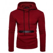 image of EDGING ZIPPER FLEECE PULLOVER HOODIE (RED) M