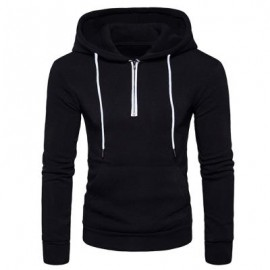 image of HOODED HALF ZIP POUCH POCKET FLEECE PULLOVER HOODIE (BLACK) S