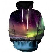 image of KANGAROO POCKET WATERFALL AND AURORA PRINT HOODIE (COLORMIX) L
