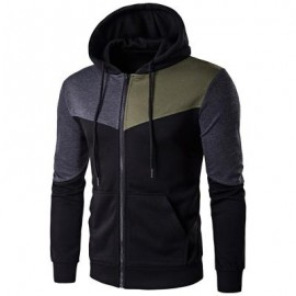 image of KANGAROO POCKET ZIP UP COLOR BLOCK HOODIE (BLACK) M