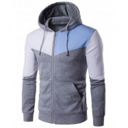 image of KANGAROO POCKET ZIP UP COLOR BLOCK HOODIE (GRAY) M