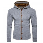 SUEDE PANEL BUTTON UP ELBOW PATCH HOODIE (LIGHT GRAY) S