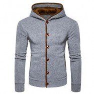 image of SUEDE PANEL BUTTON UP ELBOW PATCH HOODIE (LIGHT GRAY) S