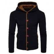 image of SUEDE PANEL BUTTON UP ELBOW PATCH HOODIE (BLACK) S