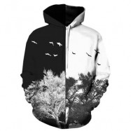 image of HOODED 3D COLOR BLOCK TREE PRINT PULLOVER HOODIE (COLORMIX) 3XL