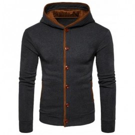 image of SUEDE PANEL BUTTON UP ELBOW PATCH HOODIE (DEEP GRAY) S