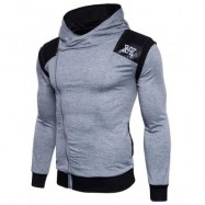 image of HOODED PU LEATHER PANEL COLOR BLOCK ZIP UP HOODIE (LIGHT GRAY) XL