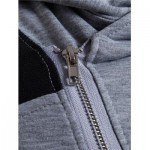 HOODED PU LEATHER PANEL COLOR BLOCK ZIP UP HOODIE (LIGHT GRAY) XL