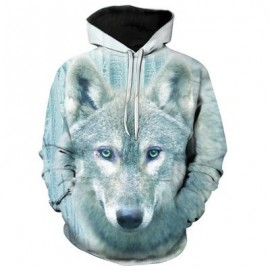 image of 3D WOLF PRINT PULLOVER HOODIE (COLORMIX) M