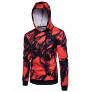 image of HOODED 3D INK WASH PAINTING PULLOVER HOODIE (RED) S