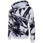 HOODED 3D INK WASH PAINTING PULLOVER HOODIE (WHITE) M