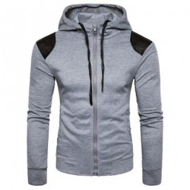 image of HOODED PU LEATHER PANEL ZIP UP HOODIE (LIGHT GRAY) M