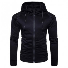 image of HOODED PU LEATHER PANEL ZIP UP HOODIE (BLACK) M