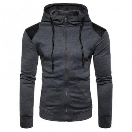 image of HOODED PU LEATHER PANEL ZIP UP HOODIE (DEEP GRAY) M