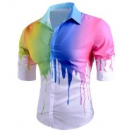 image of COLORED DRIP PAINT PRINT CASUAL SHIRT (WHITE) M