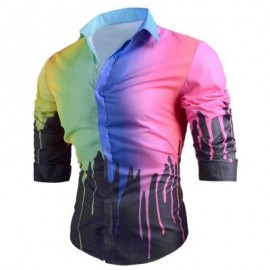 image of COLORED DRIP PAINT PRINT CASUAL SHIRT (BLACK) M