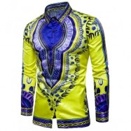 image of TURNDOWN COLLAR TRIBAL PRINT COLOR BLOCK SHIRT (YELLOW) M