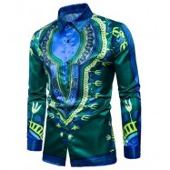image of TURNDOWN COLLAR TRIBAL PRINT COLOR BLOCK SHIRT (GREEN) S