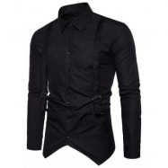 image of TURNDOWN COLLAR FAUX TWINSET BRACES SHIRT (BLACK) S