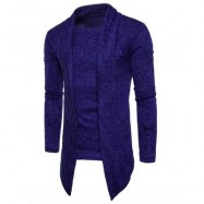 image of SHAWL COLLAR FAUX TWINSET PANEL ASYMMETRIC KNITTED CARDIGAN (ROYAL) XL