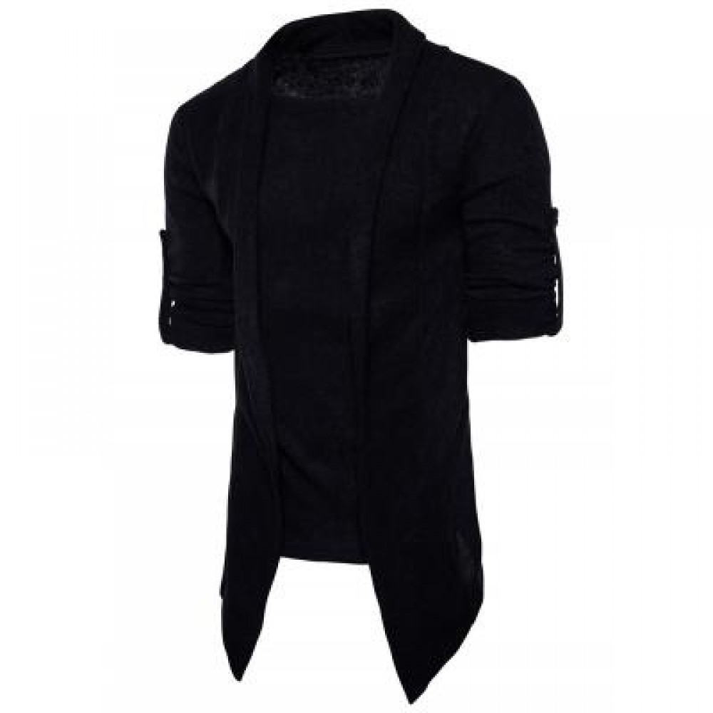 SHAWL COLLAR FAUX TWINSET PANEL ASYMMETRIC KNITTED CARDIGAN (BLACK) XL