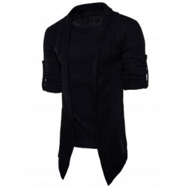 image of SHAWL COLLAR FAUX TWINSET PANEL ASYMMETRIC KNITTED CARDIGAN (BLACK) XL