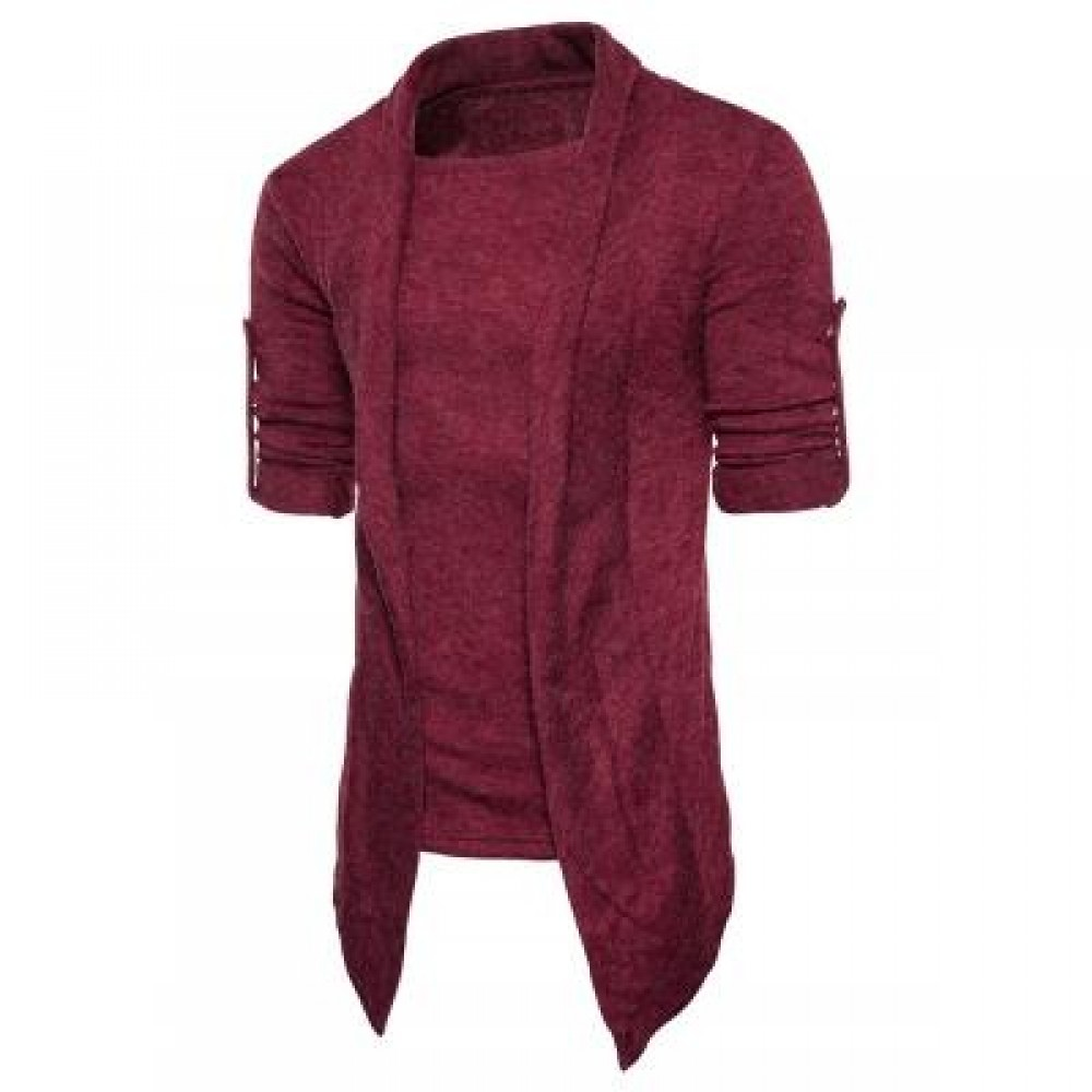 SHAWL COLLAR FAUX TWINSET PANEL ASYMMETRIC KNITTED CARDIGAN (WINE RED) XL