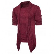 image of SHAWL COLLAR FAUX TWINSET PANEL ASYMMETRIC KNITTED CARDIGAN (WINE RED) XL