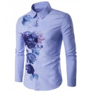 image of TURNDOWN COLLAR FLORALS WASH PAINTING PRINT LONG SLEEVE SHIRT (BLUE) L