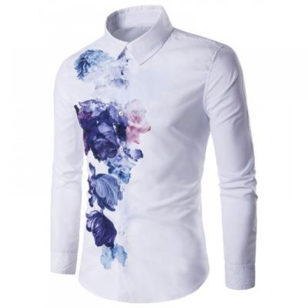 TURNDOWN COLLAR FLORALS WASH PAINTING PRINT LONG SLEEVE SHIRT (WHITE) L