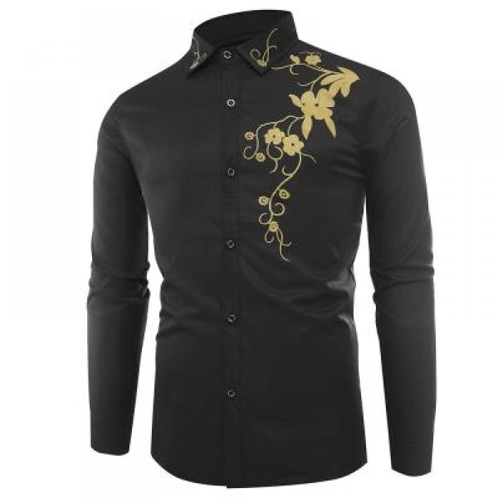 TURNDOWN COLLAR FLOWERS PRINT LONG SLEEVE SHIRT (BLACK) 3XL