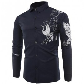 image of TURNDOWN COLLAR CHINOISERIE BIRD PRINT LONG SLEEVE SHIRT (ROYAL) 3XL