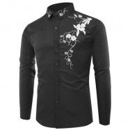 image of TURNDOWN COLLAR FLOWERS PRINT LONG SLEEVE SHIRT (ROYAL) 3XL
