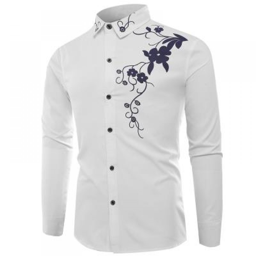 TURNDOWN COLLAR FLOWERS PRINT LONG SLEEVE SHIRT (WHITE) XL