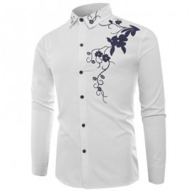 image of TURNDOWN COLLAR FLOWERS PRINT LONG SLEEVE SHIRT (WHITE) XL