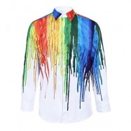 image of 3D INKED PRINT TURNDOWN COLLAR LONG SLEEVE MALE SHIRT (COLORMIX) M