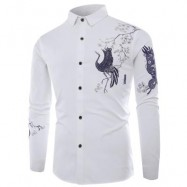 image of TURNDOWN COLLAR CHINOISERIE BIRD PRINT LONG SLEEVE SHIRT (WHITE) 3XL
