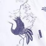 TURNDOWN COLLAR CHINOISERIE BIRD PRINT LONG SLEEVE SHIRT (WHITE) 3XL