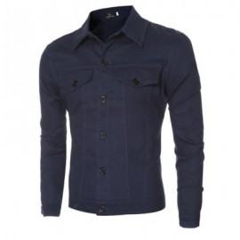 image of CASUAL LETTER PRINT POCKET DECORATION MALE LONG SLEEVE JACKET (DEEP BLUE M/L/XL/XXL) M