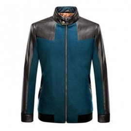 image of STAND COLLAR LEATHER SPLICED JACKET ODM DESIGNER (TURQUOISE S/M/L/XL/2XL/3XL) S