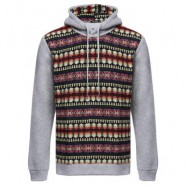 image of CASUAL COLOR BLOCK PATTERN PRINT MALE LONG SLEEVE HOODIE (LIGHT GRAY M/L/XL/XXL) M