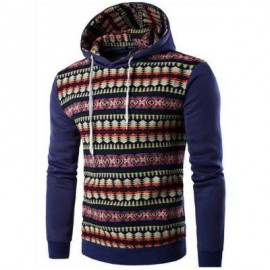 image of CASUAL COLOR BLOCK PATTERN PRINT MALE LONG SLEEVE HOODIES (DEEP BLUE M/L/XL/XXL) L
