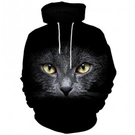 image of 3D CAT FACE PRINT KANGAROO POCKET HOODIE (BLACK) 2XL