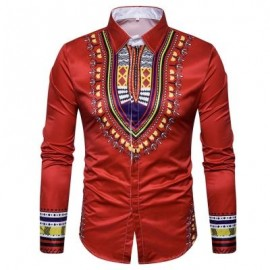 image of GEOMETRIC NATIONAL PRINT LONG SLEEVE SHIRT (RED) M