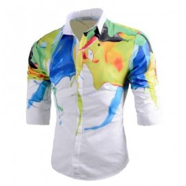 image of ABSTRACT PAINT PRINT BUTTON UP SHIRT (WHITE) M