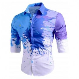 image of SLIM FIT BUTTON UP SPLATTER PAINT SHIRT (WHITE) XL