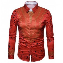 image of ETHNIC GEOMETRIC SPLATTER PAINT PRINT SHIRT (RED) 2XL
