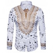 image of ETHNIC GEOMETRIC SPLATTER PAINT PRINT SHIRT (WHITE) 2XL