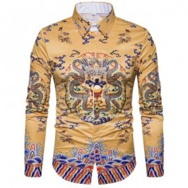 image of CHINOISERIE DRAGONS PRINT LONG SLEEVE SHIRT (COLORMIX) XL